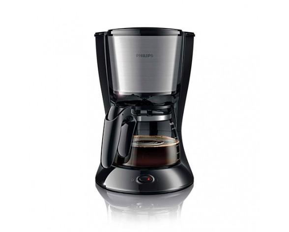 Philips Daily Collection Cafetera negra y metálica con jarra de cristal