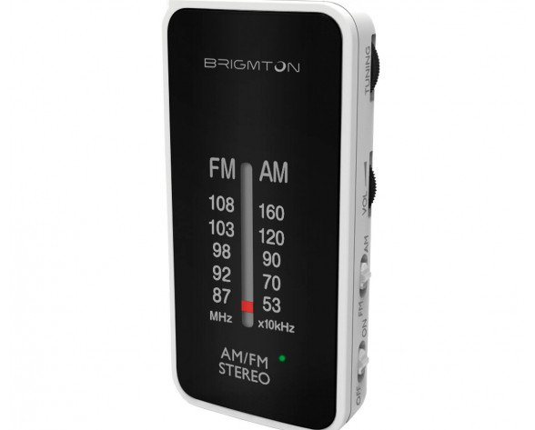Brigmton BT-224 radio Portátil Analógica Negro, Blanco