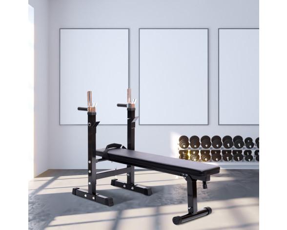 Homcom A91-008 banco y estante para entrenamiento con pesas Banco multiejercicio plegable Negro