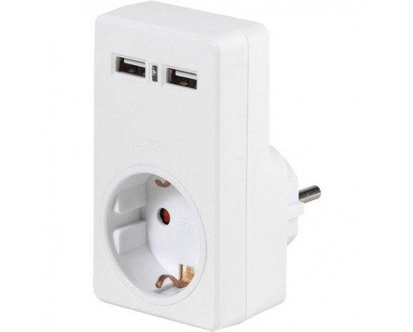 Vivanco A 1W2USB adaptador de enchufe eléctrico Tipo C (Europlug) Blanco
