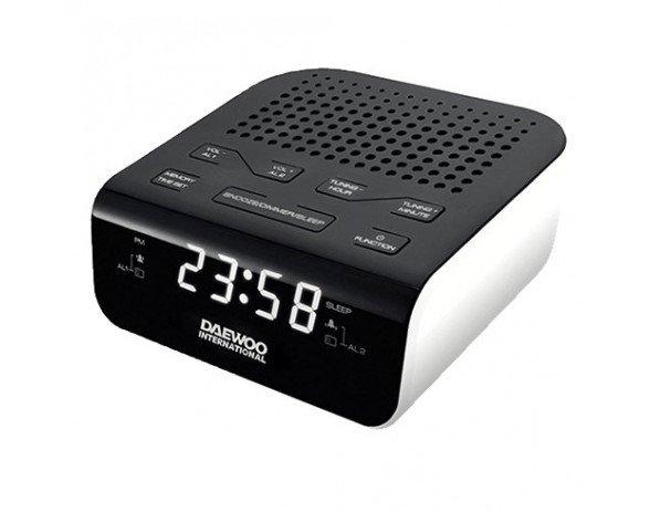 Daewoo DCR-46W radio Reloj Digital Negro, Blanco