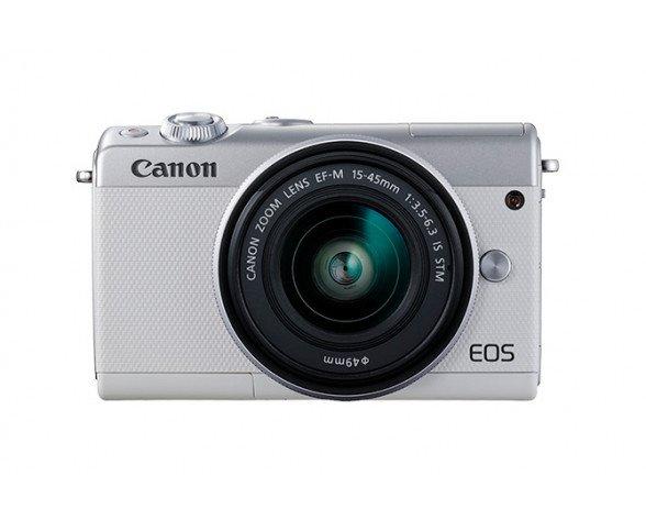 Canon EOS M100 + EF-M 15-45mm IS STM MILC 24,2 MP CMOS 6000 x 4000 Pixeles Blanco