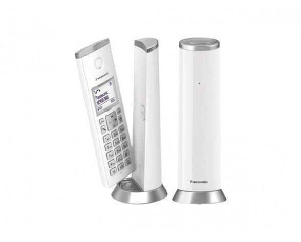 Panasonic KX-TGK212SP Teléfono DECT Silver, Blanco Identificador de llamadas