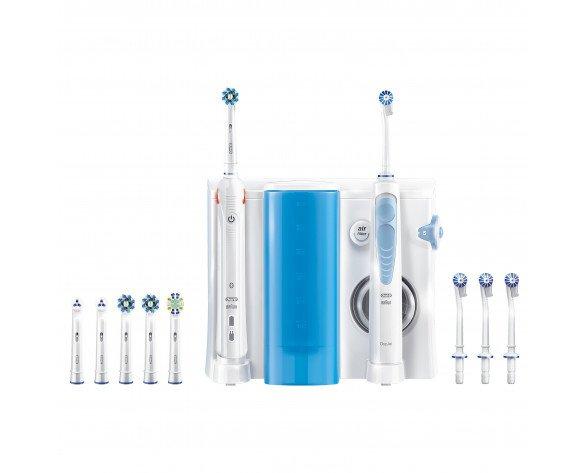 Oral-B Smart 5000 + Oxyjet Adulto Cepillo dental oscilante Azul, Blanco