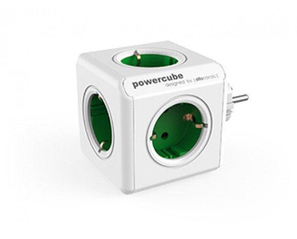 Allocacoc PowerCube Original base múltiple 5 salidas AC Interior Verde, Blanco