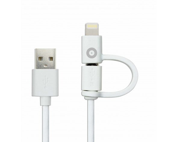 Cable Muvit USB 2 en 1 Lightning+Micro 2