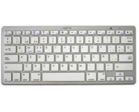 Approx APPKBBT02S teclado Bluetooth QWERTY Español Plata, Blanco