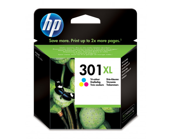 HP Cartucho de tinta original 301XL de alta capacidad Tri-color