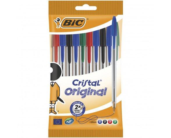 BIC Cristal Original Negro, Azul, Verde, Rojo Clip-on retractable ballpoint pen Medio 10 pieza(s)