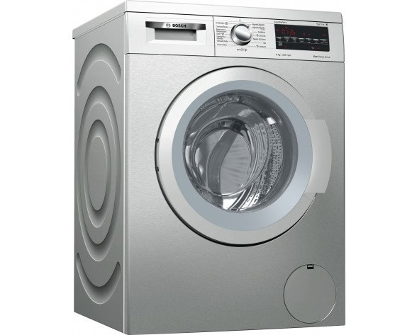 Bosch Serie 6 WUQ2448XES lavadora Independiente Carga frontal Acero inoxidable 8 kg 1200 RPM A+++