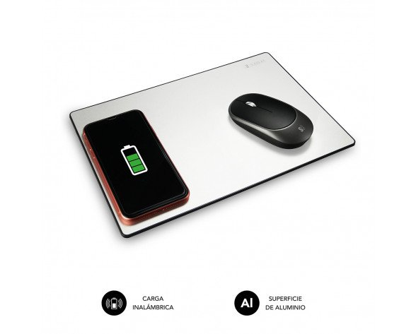 SUBBLIM Alfombrilla con cargador Inalámbrico Mousepad Wireless Charger Aluminum Silver 10W