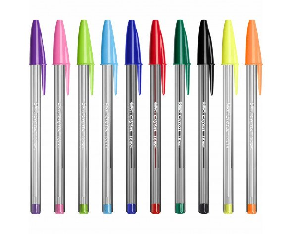 BIC Cristal Negro, Azul, Verde, Azul claro, Verde claro, Naranja, Rosa, Púrpura, Rojo, Turquesa Bolígrafo 10 pieza(s)