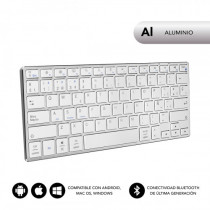 SUBBLIM Teclado Wireless Bluetooth Aluminio Advance Compact Silver