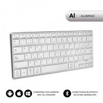 SUBBLIM Teclado Wireless Bluetooth Aluminio Advance Compact Silver