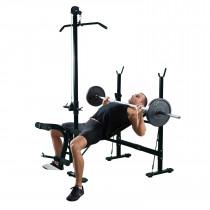 Homcom A91-034 banco y estante para entrenamiento con pesas Banco multiejercicio plegable Negro