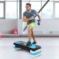 Homcom A90-077BU plataforma de step para aeróbic Negro, Azul 150 kg Altura regulable