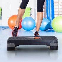 Homcom A90-076BK plataforma de step para aeróbic Negro, Gris 150 kg Altura regulable