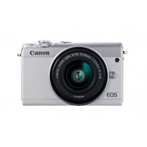 Canon EOS M100 + EF-M 15-45mm IS STM MILC 24,2 MP CMOS 6000 x 4000 Pixeles Blanco