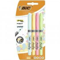 BIC Highlighter Grip Pastel marcador 4 pieza(s) Azul, Verde, Rosa, Amarillo Punta de cincel