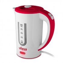 Ufesa HA7010 tetera eléctrica 0,5 L 800 W Rojo, Blanco