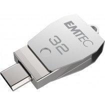 Emtec ECMMD32GT252B unidad flash USB 32 GB USB Type-A / Micro-USB 2.0 Acero inoxidable