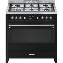 Smeg A1BL-9 cocina Cocina independiente Negro Encimera de gas A+