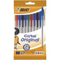 BIC Cristal Original Negro, Azul, Verde, Rojo Bolígrafo de punta retráctil con pulsador Medio 10 pieza(s)