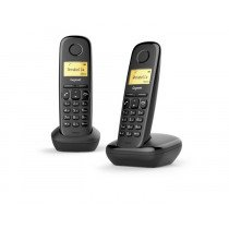 Gigaset A170 Duo Analog/DECT telephone Negro Identificador de llamadas