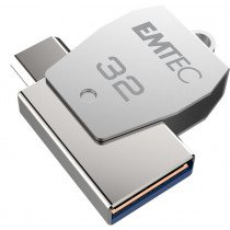 Emtec T250C unidad flash USB 32 GB USB Type-A / USB Type-C 3.2 Gen 1 (3.1 Gen 1) Acero inoxidable