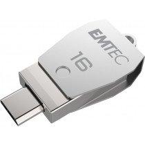 Emtec T250B unidad flash USB 16 GB USB Type-A / Micro-USB 2.0 Acero inoxidable